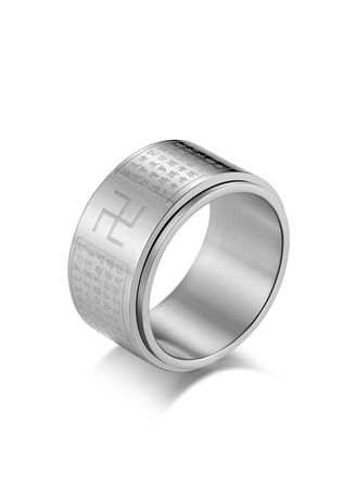 Rings . Classic Heart Can Turn Titanium Steel Ring -