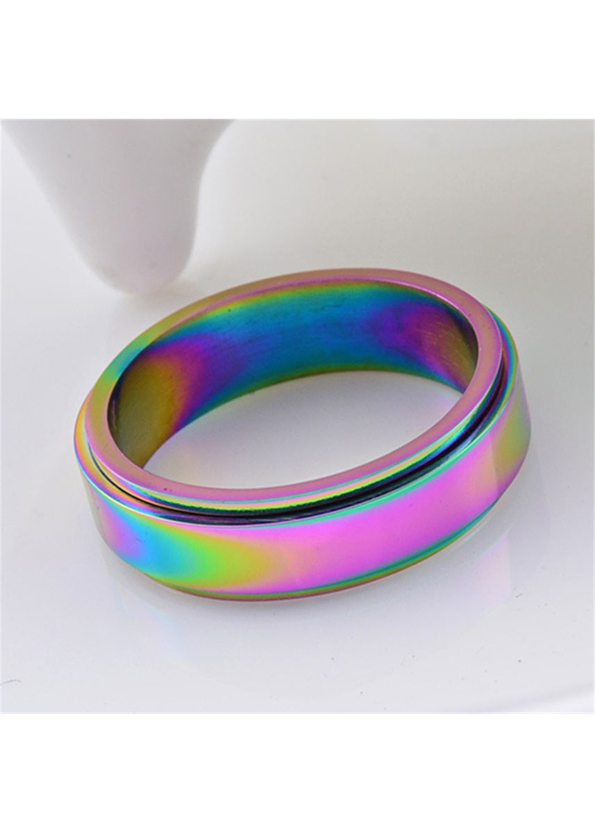 Multi color Rings . Titanium Steel Colorful Color Rotating Ring -
