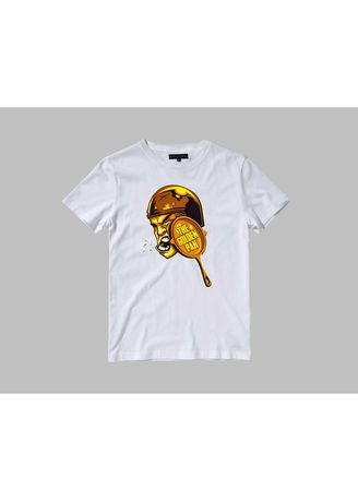 White color T-Shirts and Polos . Kaos Vallenca Unisex The Golden Pan Putih Simple Exclusive -