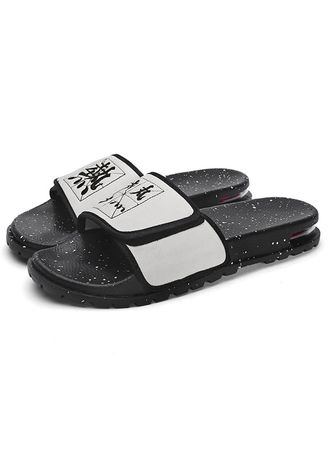 White color Sandals and Slippers . Men's Embroidery Shower Slipper  -