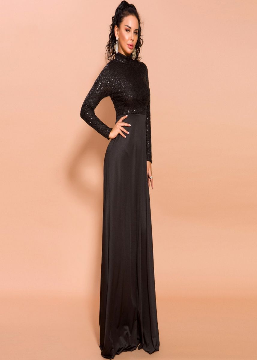Black color Dresses . Women High Neck Long Sleeve Maxi Dress -