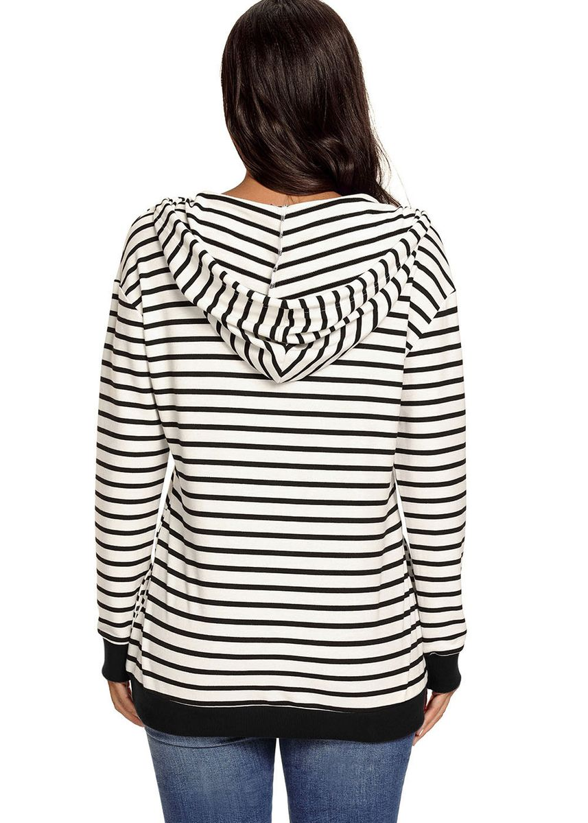 White color Jackets . Stripes Women Casual Hoodie -