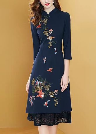 Purple color Dresses . Chinese Style Noble Lace Stitching Embroidered Flower Improved Cheongsam Dress -