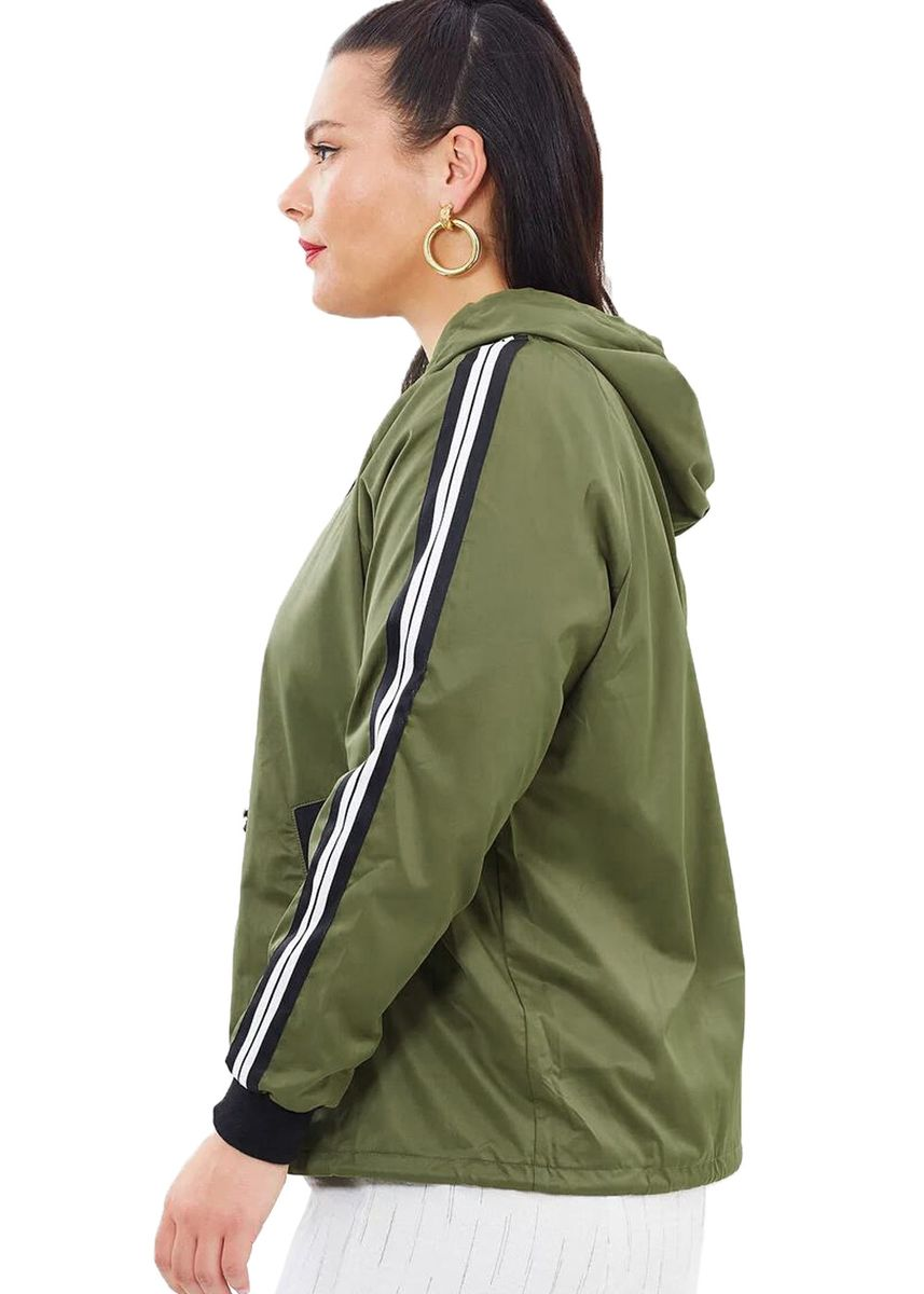 Olive color Plus Size Fashion . Striped Sleeve Hooded Parker Jacket -
