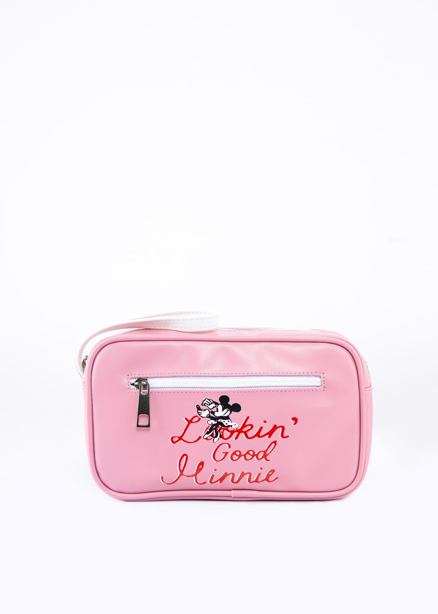 Pink color Wallets and Clutches . Disney's Minnie Mouse Typographic Print Pouch with Short Handle -