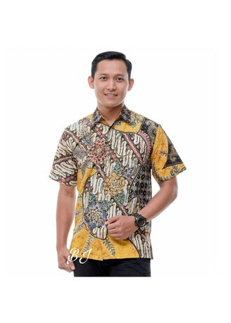 Yellow color Formal Shirts . Kemeja Pendek Batik Tulis BJ01 -