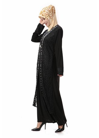 Black color Dresses . Embroidered Islamic Women's Elastic Robes -
