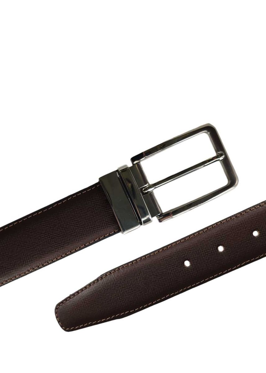 Brown color Belts . Mens Reversible Leather Belt Silver Buckle Mode Assembly -