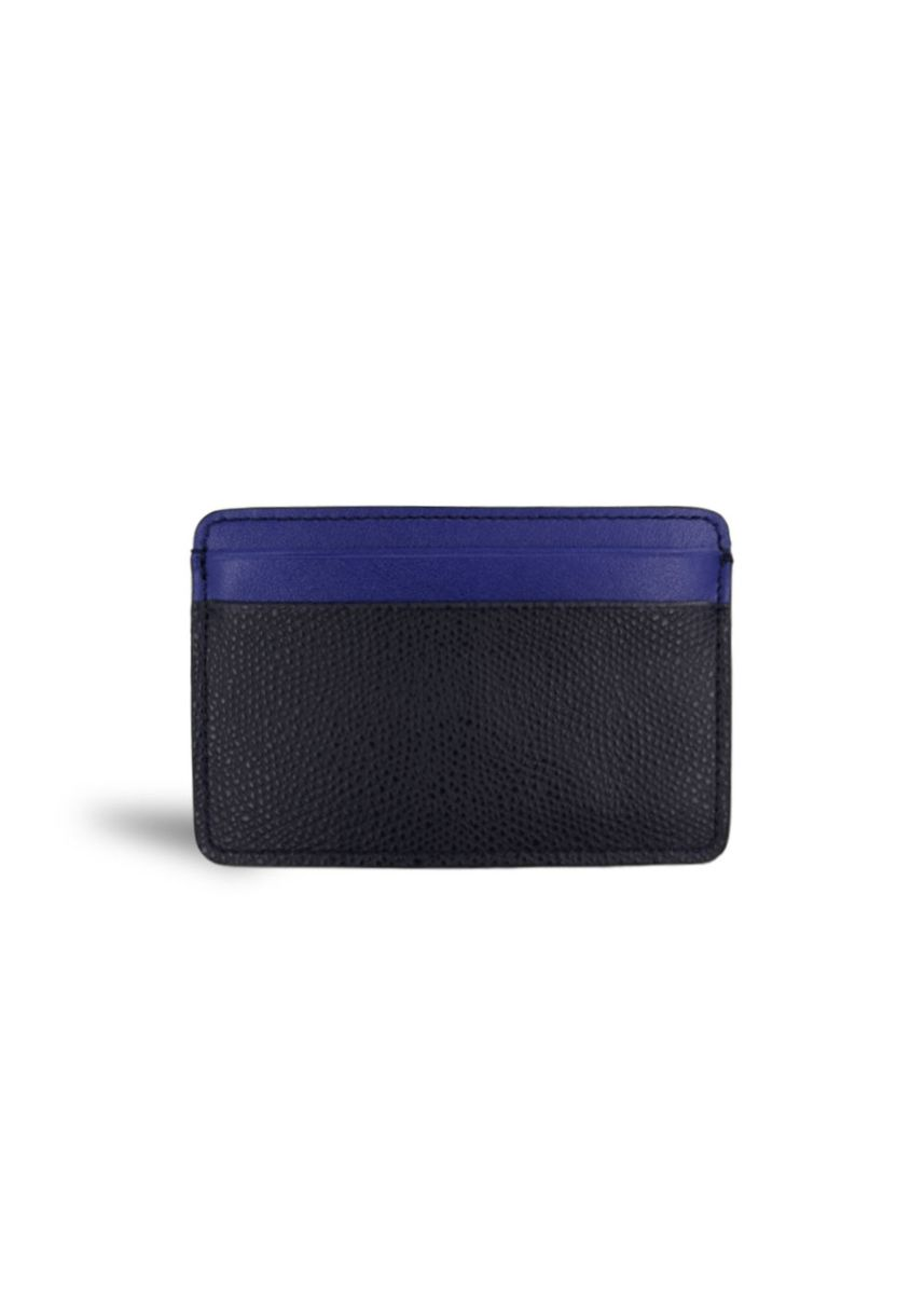 Blue color Wallets . Men's Leather Card Holder Smooth Textured Wallet -
