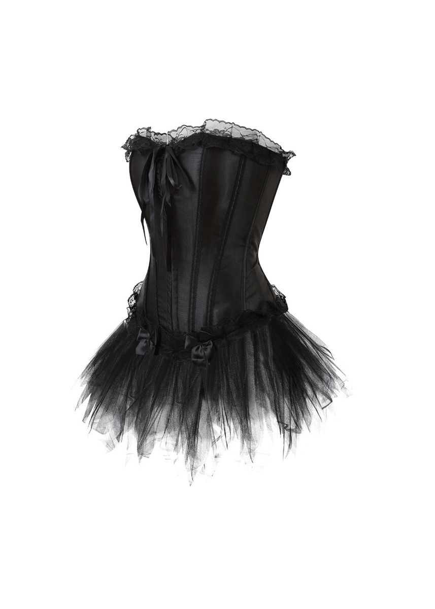 Black color Corsets . Plastic Bone Hook Lace Body Shaping Corset    -