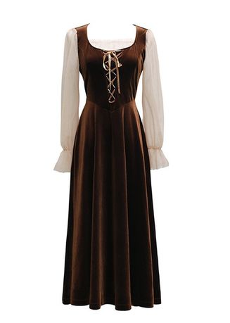 Brown color Dresses . Women's Court Velvet Waistband Show Thin Party Dress -
