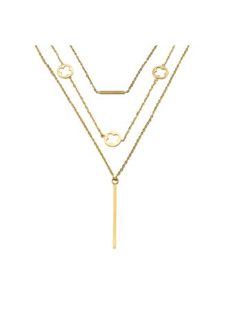 Gold color  . Mio Mio By Silverworks Layered Open Clover And ID Bar SARA Necklace -