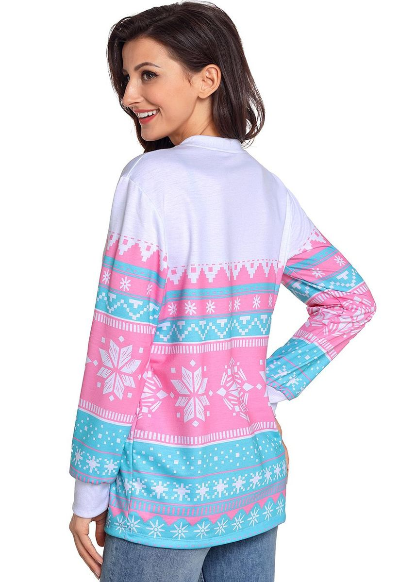 Pink color Jackets . Snowflake Print Stylish Christmas Jumper -