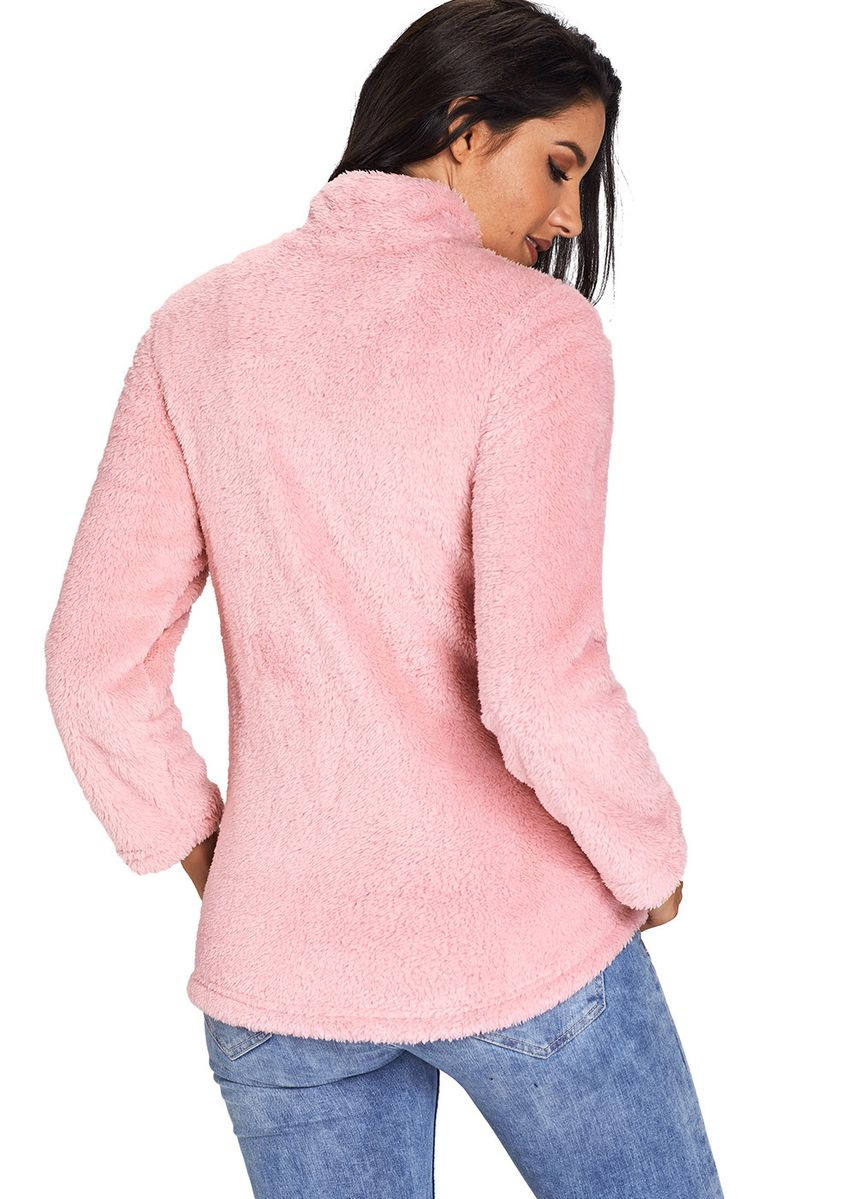 Pink color Jackets . Zipped Pullover Fleece Outfit -