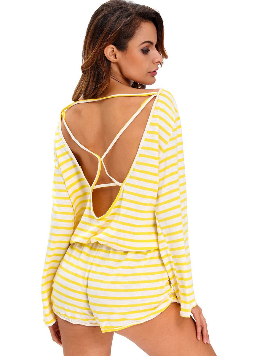 Yellow color Jump Suits . Batwing Stripe Cover-Up Romper -
