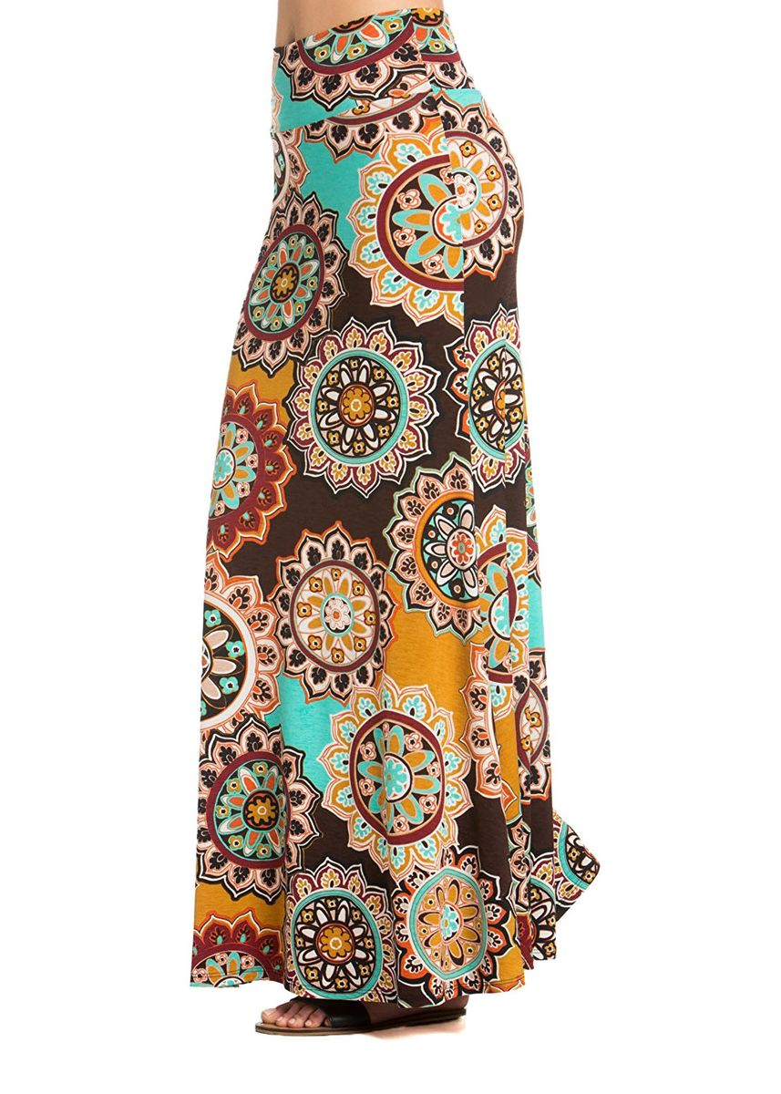Brown color Skirts . Bohemian Print Maxi Skirt -