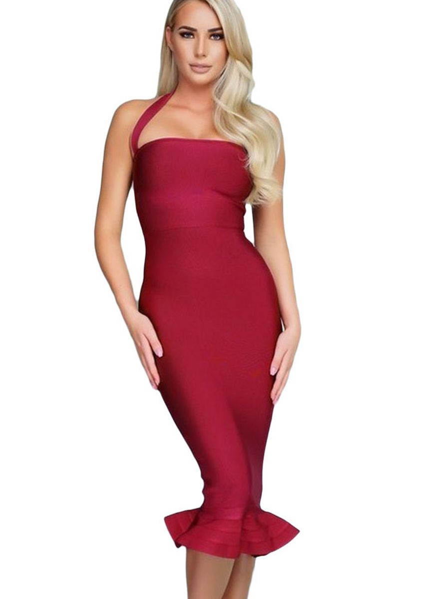 Red color Dresses . Halter Mermaid Midi Bodycon Bandage Dress with Flare -