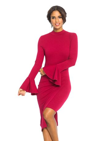 แดง color เดรส . Keyhole Back Asymmetric Bodycon Midi Dress -
