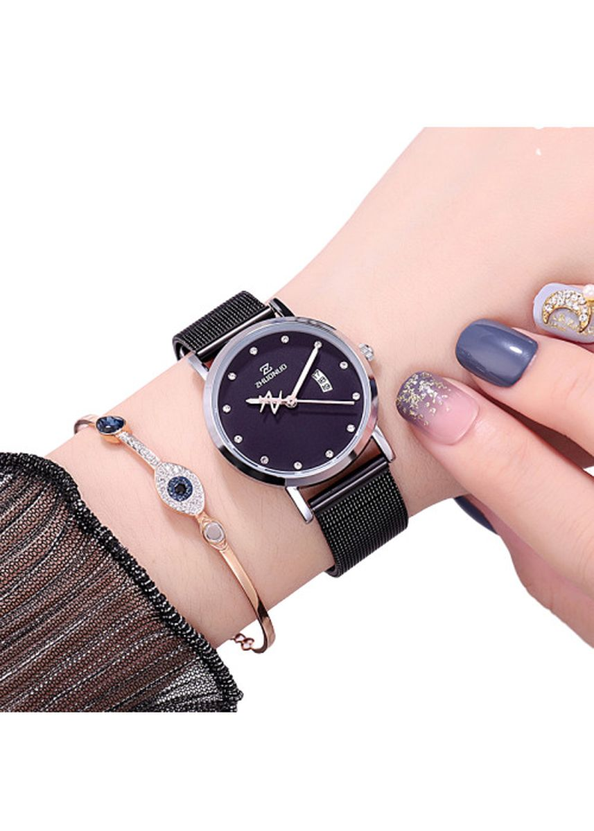 ดำ color โคโนกราฟ . Fashionable Luminous Ladies Watch -