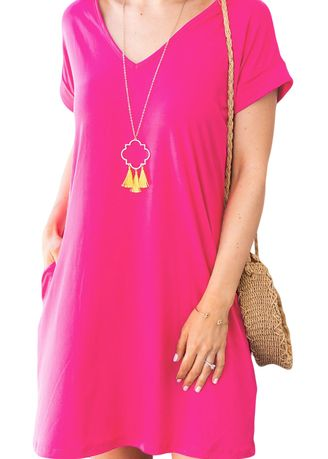 Pink color Dresses . Women's Casual Wear V Neck Cuffed T-shirt Dress  -