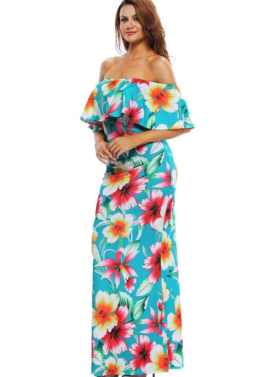 Cyan color Dresses . Turquoise Roses Print Off-the-shoulder Maxi Dress -