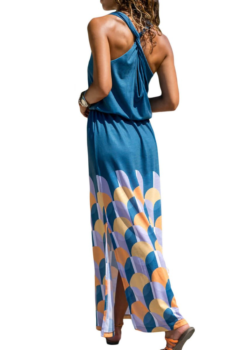 Blue color Dresses . Twist Hollow-out Back Long Tank Dress with Print -