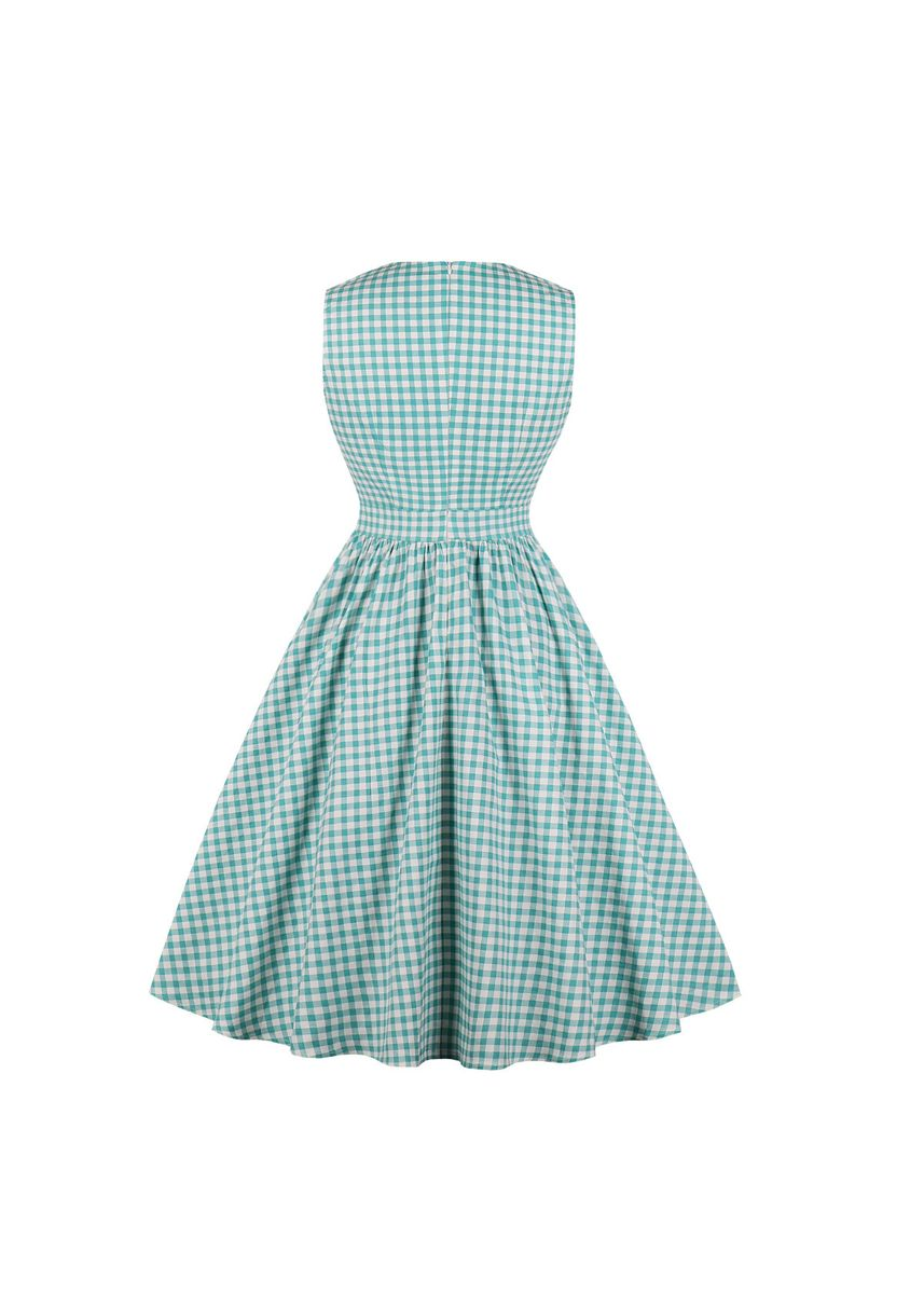 Green color Dresses . Sweet Gingham Print Dress -