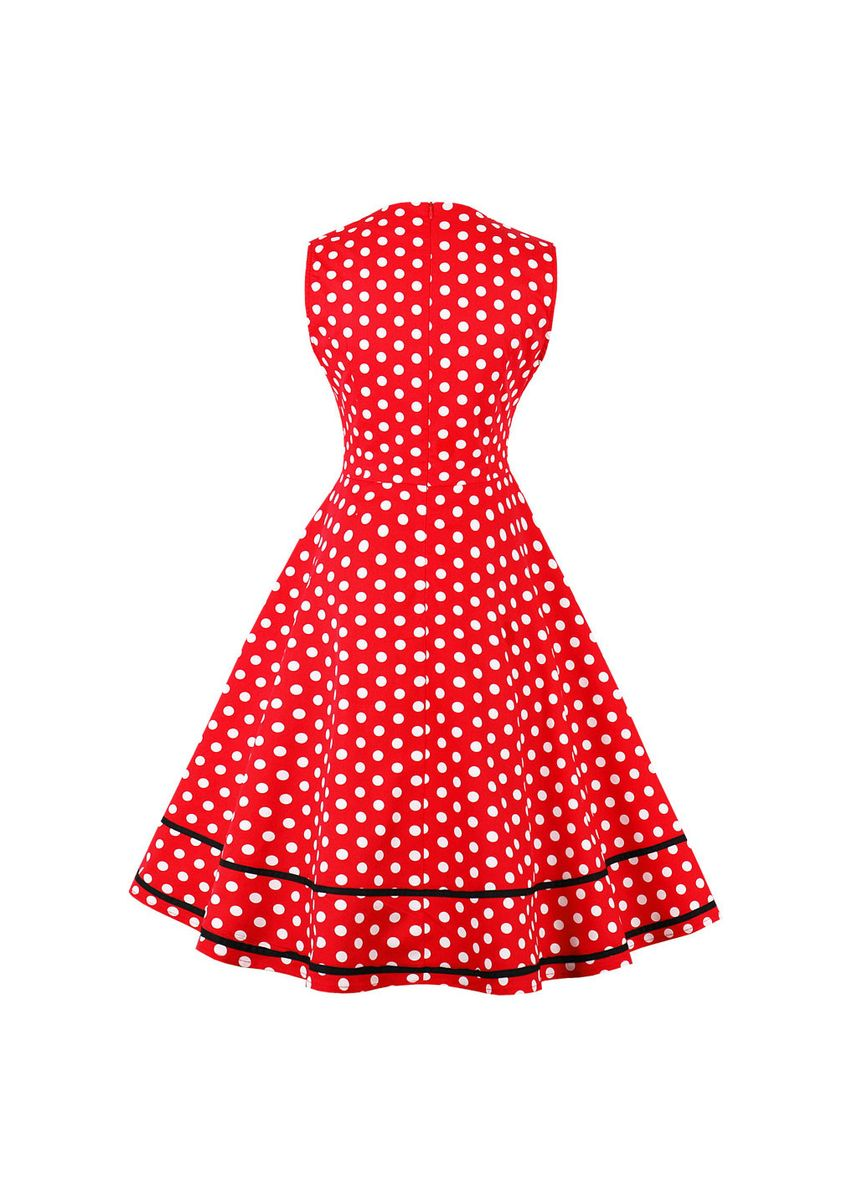 Red color Dresses . Sweet Dot Printed Drees -
