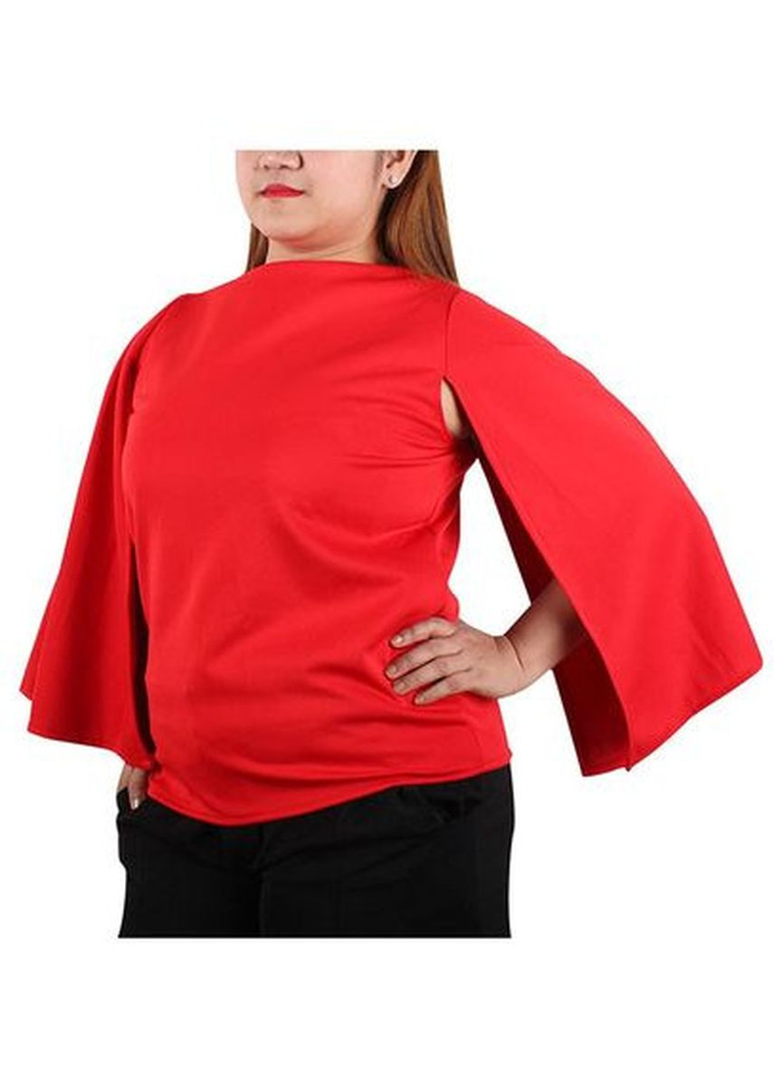 Red color Tops and Tunics . Timeless Manila Cassandra Cape Boat Neck Blouse -