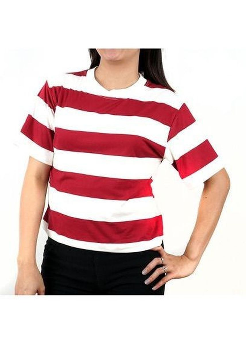 Maroon color Tops and Tunics . Timeless Manila Meth Striped Crop Top  -