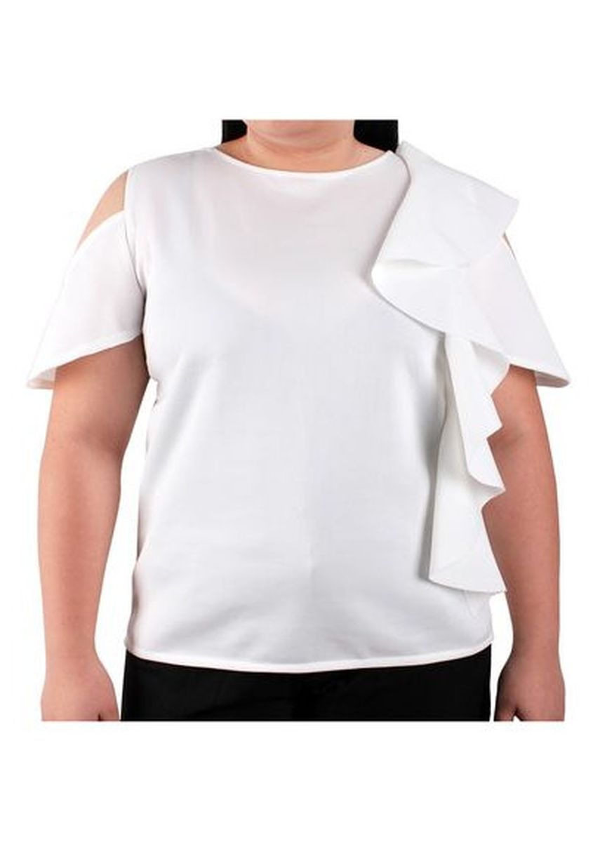 White color Tops and Tunics . Timeless Manila Larisa Open Shoulder Plus Size -
