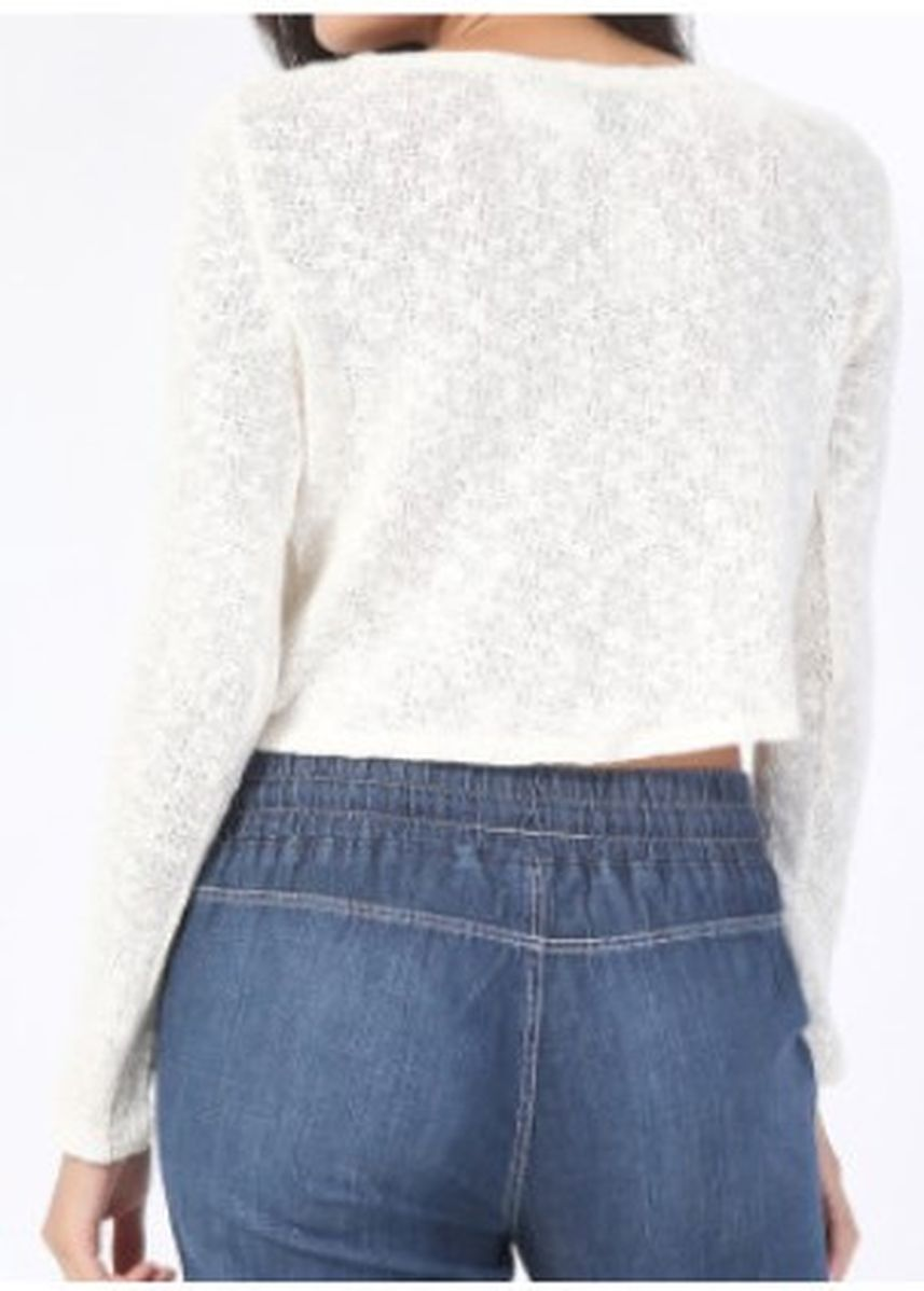 White color Tops and Tunics . Forever 21 Crop Long Sleeves -