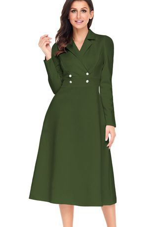 Green color Dresses . Vintage Button Collared Fit-and-flare Dress -