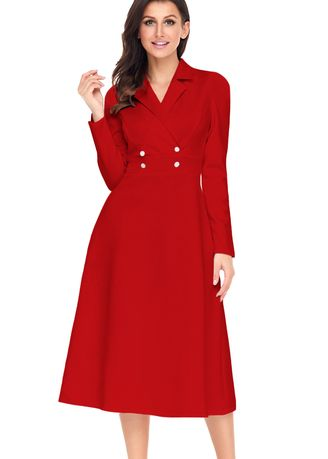 Dresses . Vintage Button Collared Fit-and-flare Dress -