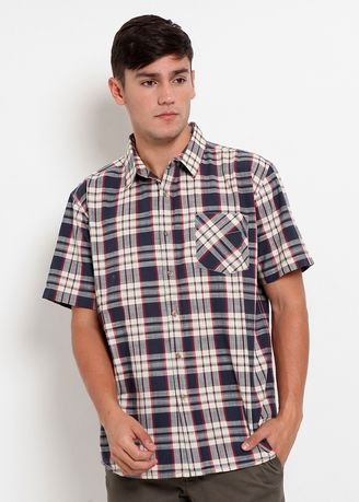 Blue color Casual Shirts . RBJ Kemeja Kotak-kotak Regular Fit Pria -