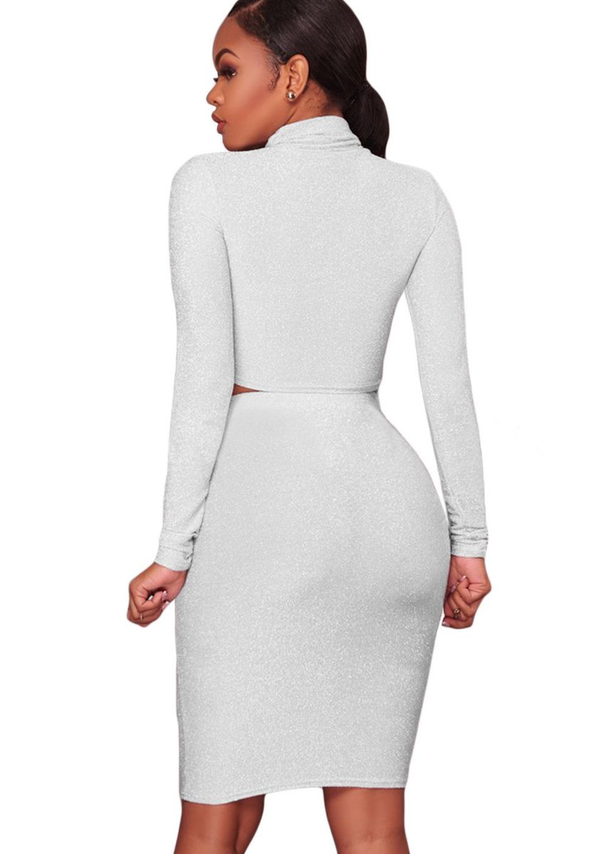 White color Dresses . Silver Shimmer Two Piece Dress -