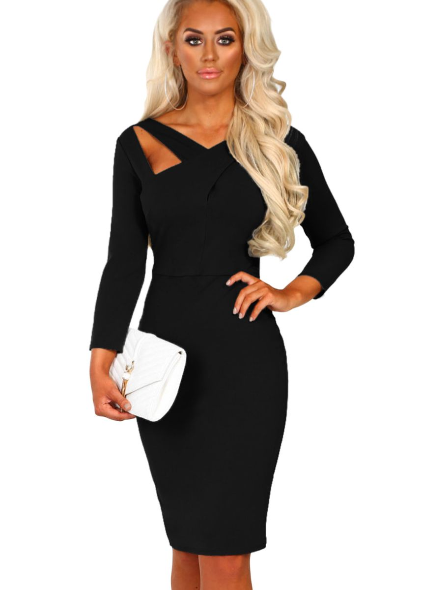 ดำ color เดรส . 3/4 Sleeve Cross Over Bodycon Dress -