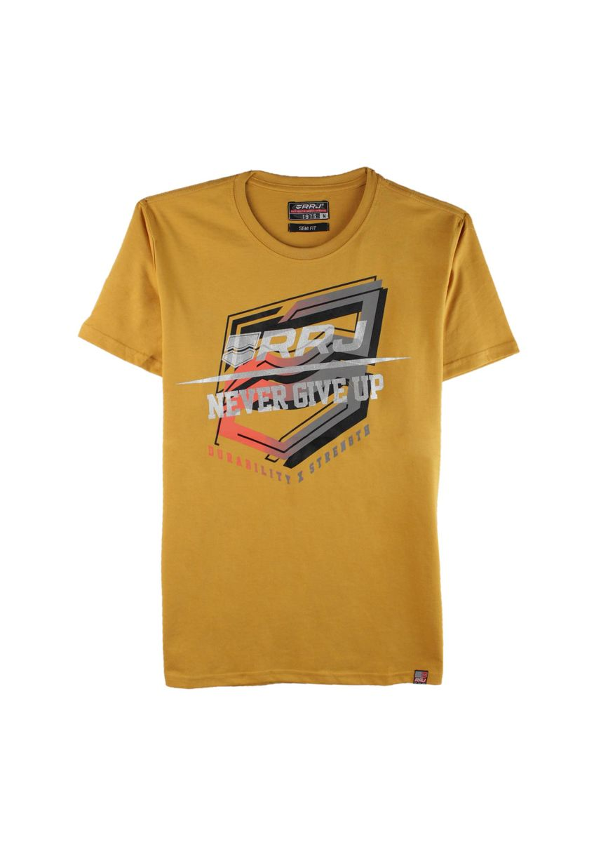 Yellow color T-Shirts and Polos . RRJ Men's Basic Tee Semi Body Fit -