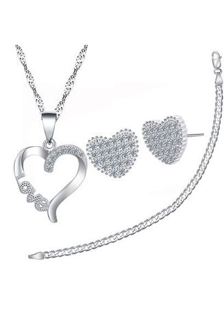 Silver color  . Silver Kingdom Genuine Italy 92.5 Silver Heart Necklace & Earrings With Bracelet -