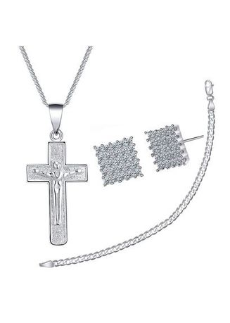 Silver color  . Silver Kingdom Genuine Italy 92.5 Silver Cross Necklace & Square Stud Earrings With Bracelet -