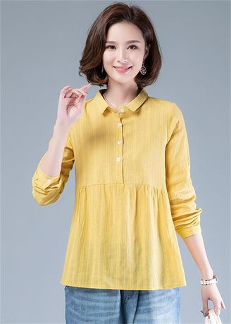 Plus Size Fashion . Loose Solid Color Long Sleeve Long Sleeve Casual Top -