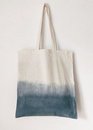 White color Sling Bags . ถุงผ้า รุ่น Blue Ombre -