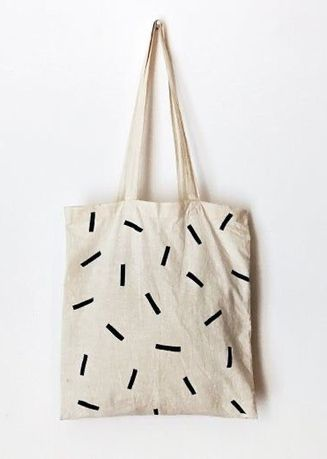 White color Sling Bags . ถุงผ้า รุ่น Simple Square -