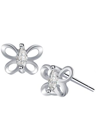 Silver color  . Silver Kingdom Original 92.5 Italy Silver Social Butterfly Stud Earrings -