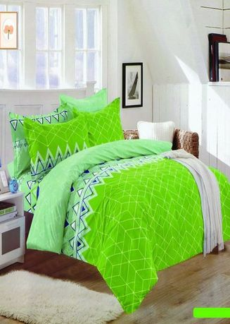 Green color Bedroom . Celina Home Textiles 3 In 1 Single 36 x75 Cotton Bed Sheet Set Premium Quality BS02-36 -