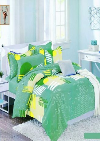 Green color Bedroom . Celina Home Textiles 3 In 1 Single 36 x75 Cotton Bed Sheet Set Premium Quality BS03-36 -