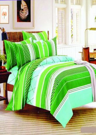 Green color Bedroom . Celina Home Textiles 3 In 1 Single 36 x75 Cotton Bed Sheet Set Premium Quality BS05-36 -