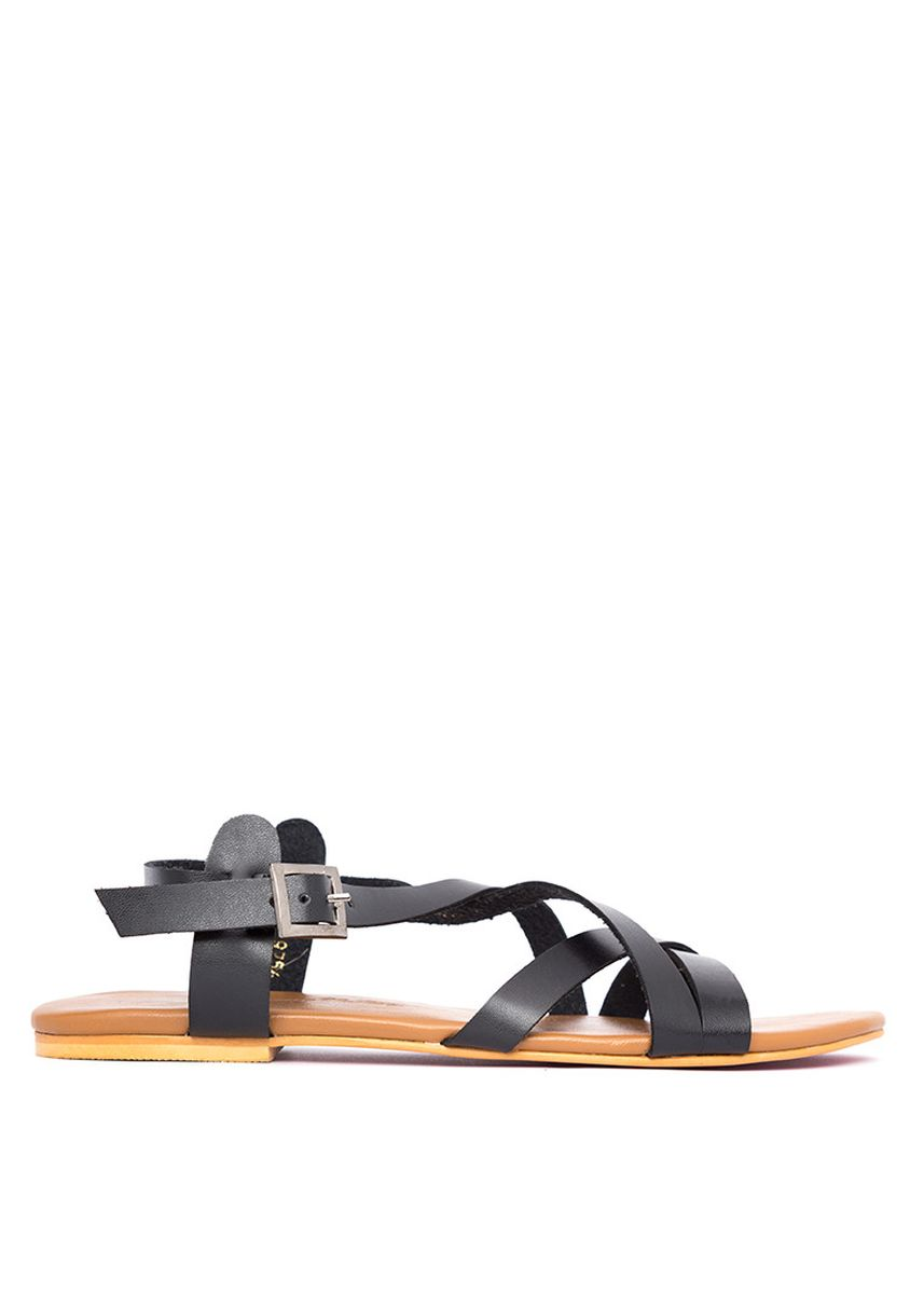 Black color Sandals and Slippers . Carmelletes Flat Strappy Sandals -