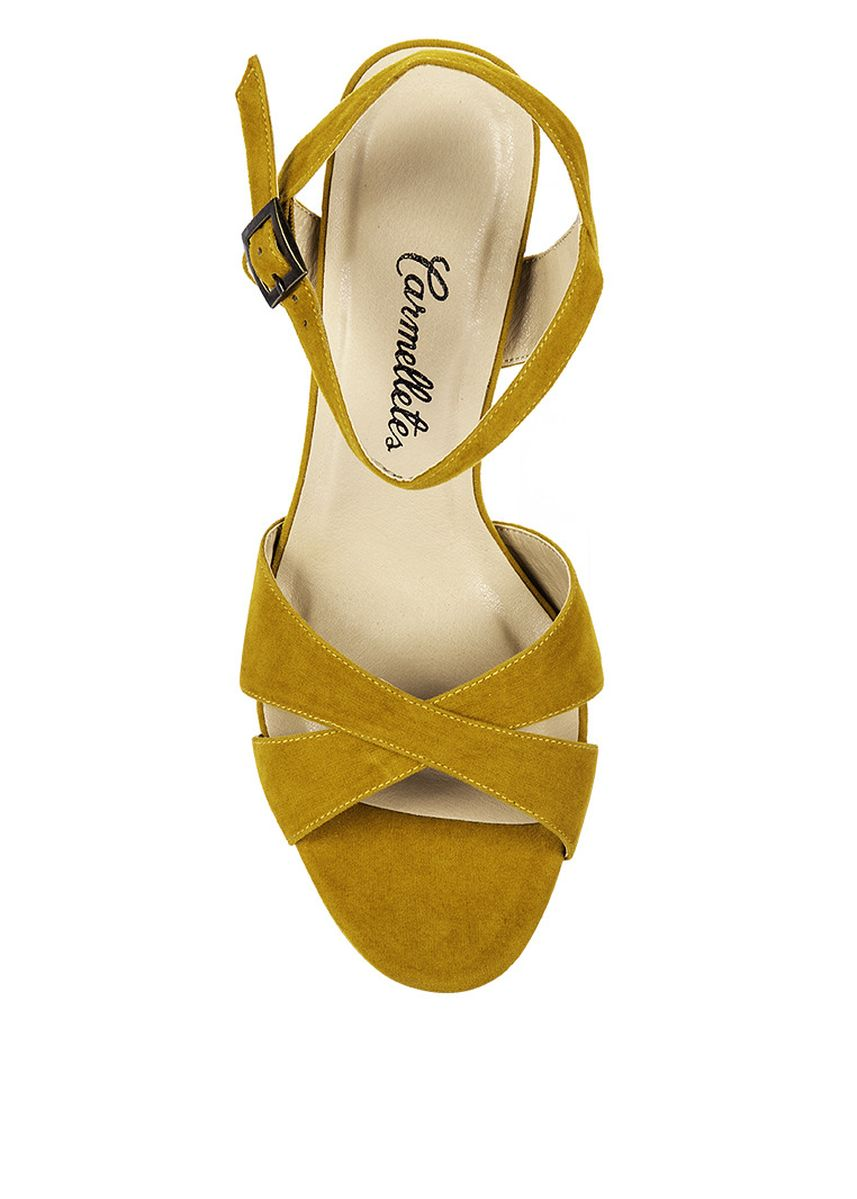 Yellow color Heels . Carmelletes Suede Heeled Sandals -