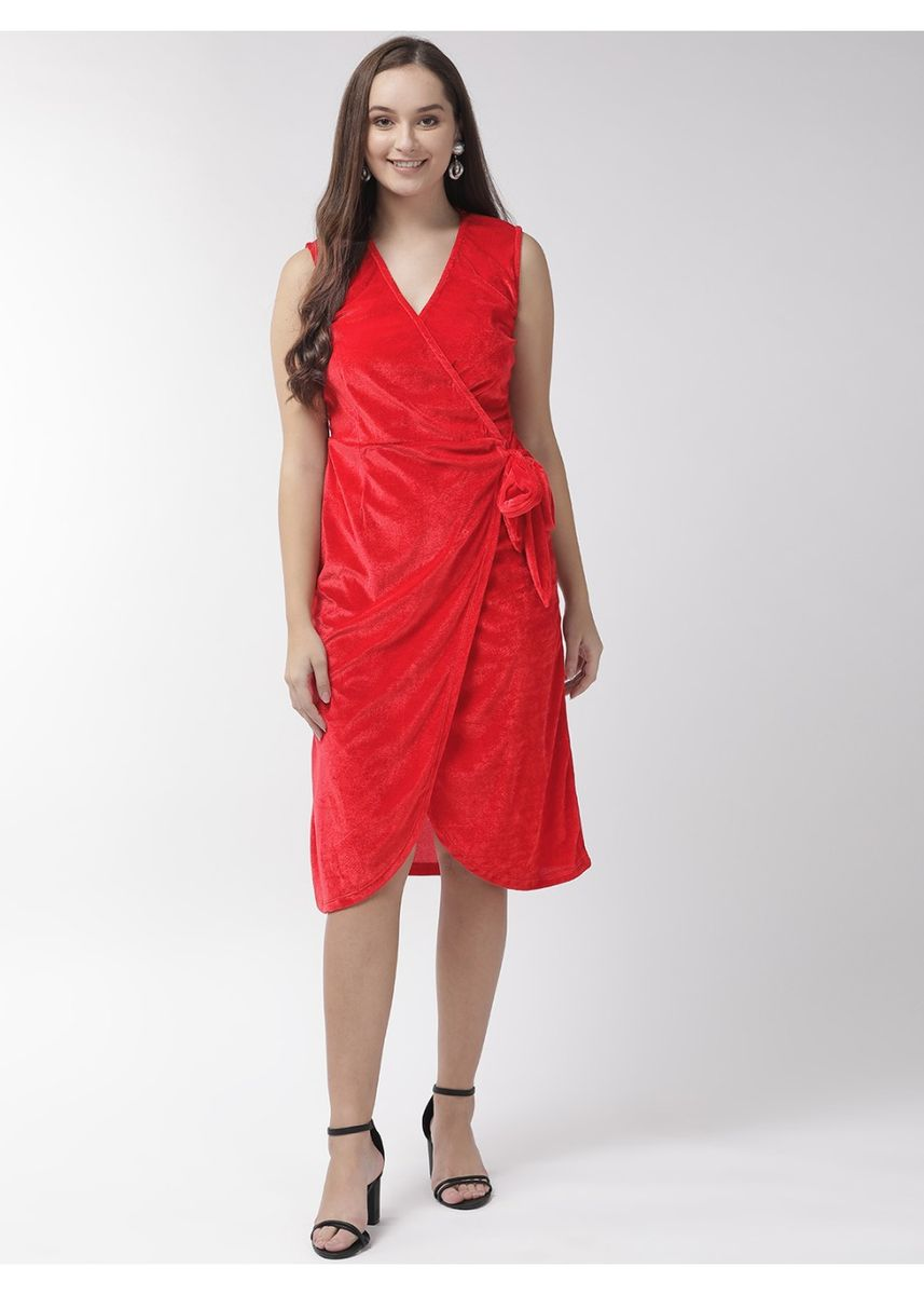 Red color Dresses . Side Knot Assymetrical Dress -